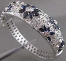 ANTIQUE 7.0CTW PAVE DIAMOND SAPPHIRE 14K WHITE GOLD FLOWER BANGLE BRACELET 20984