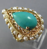 ANTIQUE LARGE AAA PEARL & TURQUOISE 14KT YELLOW GOLD 3D FILIGREE PEAR RING 26007
