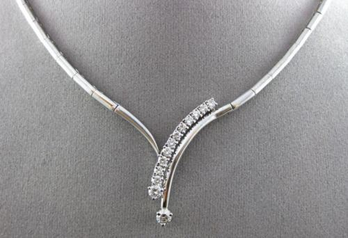 "ESTATE 1.0CT DIAMOND 14KT WHITE GOLD "" V "" SHAPED DROP NECKLACE BEAUTIFUL #18873"