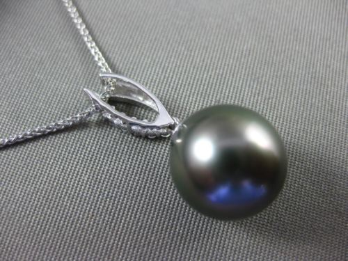 ESTATE .11CT DIAMOND 14K WHITE GOLD 3D TAHITIAN PEARL OPEN LEAF FLOATING PENDANT