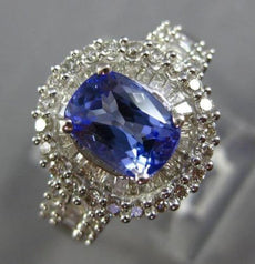 ESTATE 2.25CT DIAMOND & TANZANITE 14KT WHITE GOLD 3D DOUBLE HALO ENGAGEMENT RING