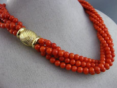 ESTATE LARGE AAA NATURAL CORAL 14KT YELLOW GOLD MULTI STRAND BEAD NECKLACE 25638