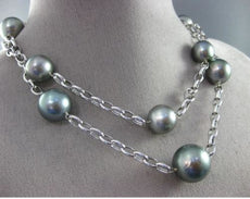 ESTATE EXTRA LARGE & LONG 14K WHITE GOLD AAA TAHITIAN PEARL BY THE YARD NECKLACE
