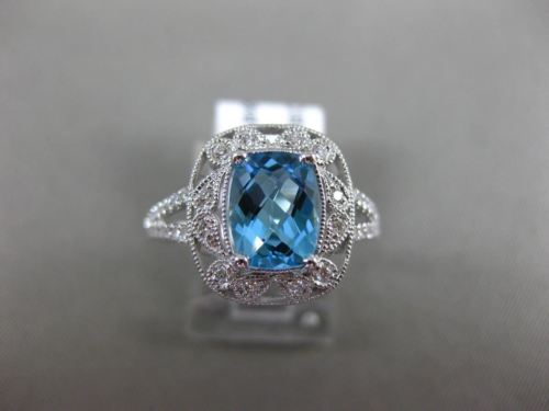 LARGE 2.10CT DIAMOND & AAA BLUE TOPAZ 14K WHITE GOLD FILIGREE SQUARE FLOWER RING