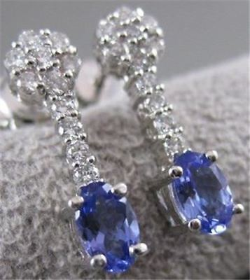 ESTATE 1.64CTW DIAMOND TANZANITE 14KT WHITE GOLD HANGING CLUSTER EARRINGS #11426