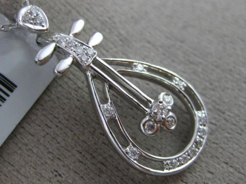 ESTATE .14CT DIAMOND 18K WHITE GOLD 3D ETOILE PEAR SHAPE GUITAR FLOATING PENDANT