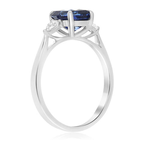 ESTATE 2.45CT DIAMOND & AAA SAPPHIRE PLATINUM 3D CLASSIC STONE ENGAGEMENT RING