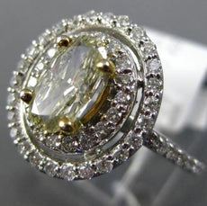 ESTATE 2.12CT WHITE & FANCY YELLOW DIAMOND 14KT 2 TONE GOLD OVAL ENGAGEMENT RING