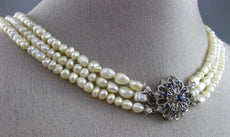 ANTIQUE .50CT AAA SAPPHIRE & BAHRAIN PEARL 18K WHITE GOLD CHOKER NECKLACE #25833
