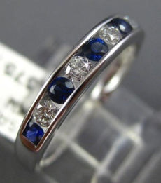 ESTATE .45CT DIAMOND & SAPPHIRE 18K WHITE GOLD 3D SEMI ETERNITY ANNIVERSARY RING