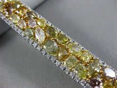 GIA LARGE 26.82CT WHITE & FANCY YELLOW DIAMOND 18K TWO TONE GOLD TENNIS BRACELET