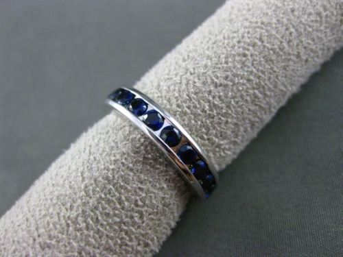 ESTATE 1.20CT SAPPHIRE 14KT WHITE GOLD ETERNITY WEDDING ANNIVERSARY RING #22443