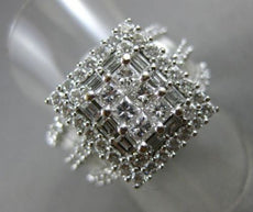 ESTATE EXTRA LARGE 2.30CT DIAMOND 14KT WHITE GOLD 3D SQUARE HALO ENGAGEMENT RING