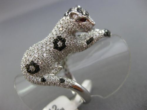 MASSIVE 2.96CT WHITE & BLACK DIAMOND & RUBY 18KT WHITE GOLD 3D HAPPY TIGER RING