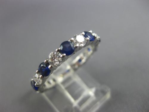 2.30CT DIAMOND & AAA SAPPHIRE 14KT WHITE GOLD ETERNITY WEDDING ANNIVERSARY RING