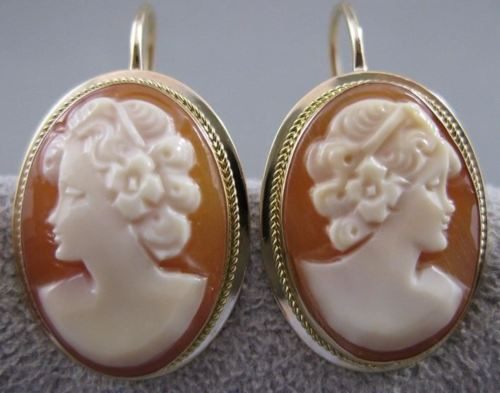 ANTIQUE 14KT YELLOW GOLD LADY SHELL CAMEO HANGING EARRINGS 26MM ITALIAN #20639