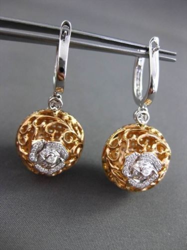 ANTIQUE 5.16CT DIAMOND 18KT TWO TONE GOLD FILIGREE DOUBLE SIDED HANGING EARRINGS