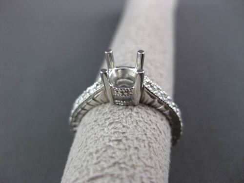 ANTIQUE .30CT DIAMOND 14KT WHITE GOLD FILIGREE SEMI MOUNT ENGAGEMENT RING #14676