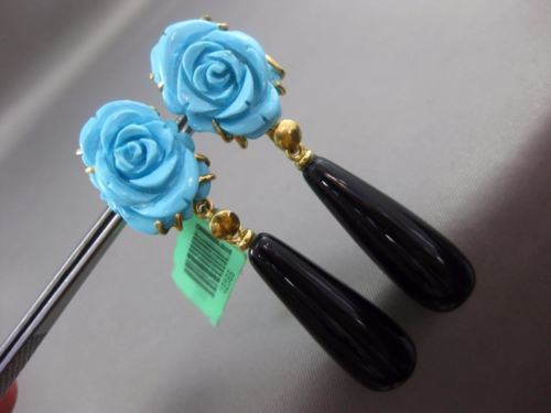 ANTIQUE LARGE BLACK ONYX & TURQUOISE 18K YELLOW GOLD HAND CARVED HANGING EARRING