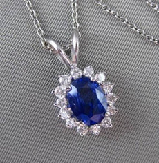 ESTATE LARGE 3.19CT DIAMOND & SAPPHIRE 14KT WHITE GOLD CLUSTER FLOATING PENDANT
