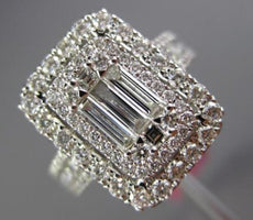 EXTRA LARGE 1.60CT ROUND & BAGUETTE DIAMOND 18KT WHITE GOLD HALO ENGAGEMENT RING
