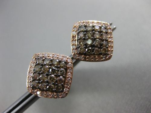 ESTATE .92CT WHITE CHOCOLATE FANCY DIAMOND 14K ROSE & BLACK GOLD SQUARE EARRINGS
