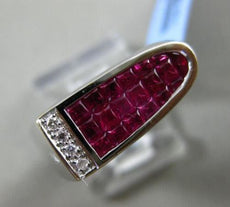ESTATE 1.94CT DIAMOND & PRINCESS CUT AAA RUBY 18KT WHITE GOLD 3D MENS RING