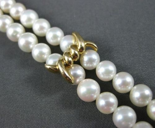ESTATE 14KT YELLOW GOLD DOUBLE STRANDED NATURAL SOUTH SEA PEARL BRACELET #20142