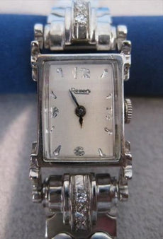 "ANTIQUE OLD MINE CUT DIAMOND 14Kt WHITE GOLD REINER'S MECHANICAL WATCH 6"" #552"