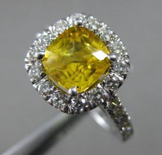 ESTATE 2.50CT ROUND DIAMOND & AAA YELLOW TOPAZ 14KT WHITE GOLD SQUARE HALO RING