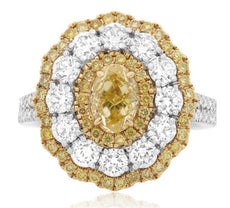 GIA 3.0CT WHITE & FANCY YELLOW DIAMOND PLATINUM 18K 2 TONE GOLD ENGAGEMENT RING