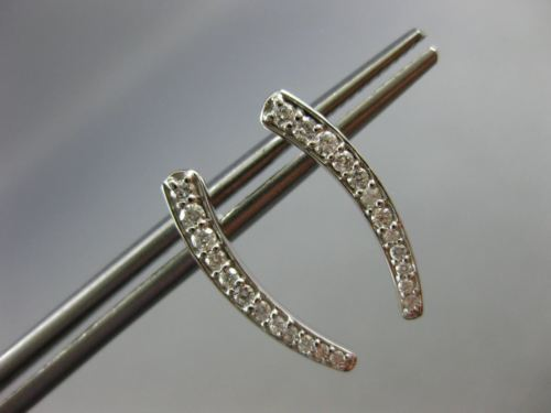 ESTATE .22CT DIAMOND 14KT WHITE GOLD 3D CLASSIC JOURNEY HANGING STUD EARRINGS