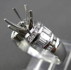 ESTATE WIDE .64CT DIAMOND 14K WHITE GOLD 6 PRONG SEMI MOUNT ENGAGEMENT RING 2234