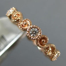 ESTATE .30CT DIAMOND 14K ROSE GOLD 3D 6 STONE FILIGREE INFINITY ANNIVERSARY RING