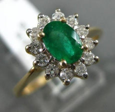 1.10CT DIAMOND & AAA OVAL COLOMBIAN EMERALD 14K 2 TONE GOLD HALO ENGAGEMENT RING