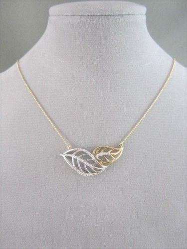 ANTIQUE .11CT DIAMOND 18KT WHITE & YELLOW GOLD OPEN DOUBLE LEAF NECKLACE UNIQUE!