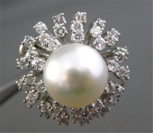 ANTIQUE LARGE 1.25CT DIAMOND & PEARL 14KT WHITE GOLD CLUSTER RING BEAUTIFUL #848