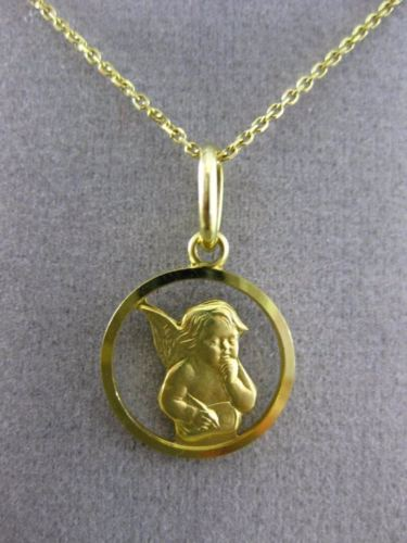 ESTATE 14KT YELLOW GOLD CIRCULAR 3D HANDCRAFTED ANGEL PENDANT & CHAIN #25016