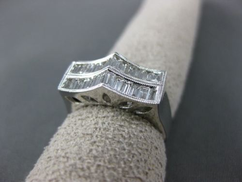 ESTATE WIDE .87CT DIAMOND 18KT WHITE GOLD 3D TWO ROW MILGRAIN ANNIVERSARY RING