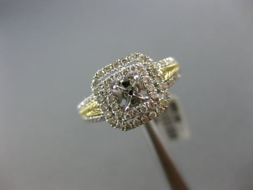 WIDE .66CT DIAMOND 14K TWO TONE GOLD 3D SEMI ETERNITY SEMI MOUNT ENGAGEMENT RING