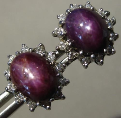 ESTATE LARGE 12.76CT DIAMOND & AAA PURPLE STAR SAPPHIRE 14KT WHITE GOLD EARRINGS