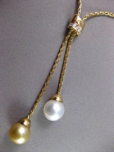 ESTATE .25CT DIAMOND & AAA SOUTH SEA PEARL 14KT YELLOW GOLD LARIAT NECKLACE #745