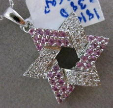 ESTATE .76CT DIAMOND & AAA PINK SAPPHIRE 18K WHITE GOLD 3D STAR OF DAVID PENDANT