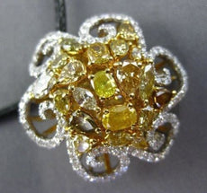 LARGE 2.74CT WHITE & FANCY YELLOW DIAMOND 18KT TWO TONE GOLD FLOWER LOVE PENDANT