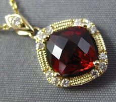 2.10CT DIAMOND & AAA GARNET 14KT YELLOW GOLD 3D FILIGREE ETOILE MILGRAIN PENDANT