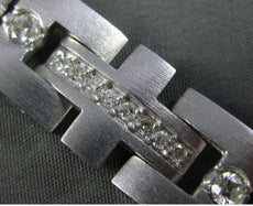 ESTATE WIDE & LONG 2.23CT DIAMOND 14KT WHITE GOLD 3D SQUARE LINK MENS BRACELET