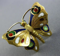 ANTIQUE 14KT YELLOW GOLD 3D MULTI COLOR ENAMEL HANDCRAFTED BUTTERFLY BROOCH PIN