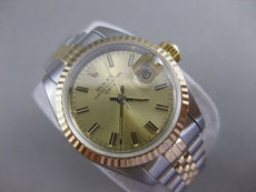 MINT ROLEX OYSTER PERPETUAL DATE TWO TONE 18K GOLD SS LADIES WATCH BOX 26M 21584