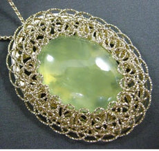 ESTATE LARGE AAA GREEN QUARTZ 14KT YELLOW GOLD DIAMOND CUT FILIGREE OVAL PENDANT