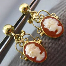 ANTIQUE 14KT YELLOW GOLD LADY CAMEO FILIGREE HANGING EARRINGS BEAUTIFUL #23828